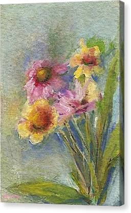 Canvas Print featuring the painting Wildflowers by Mary Wolf