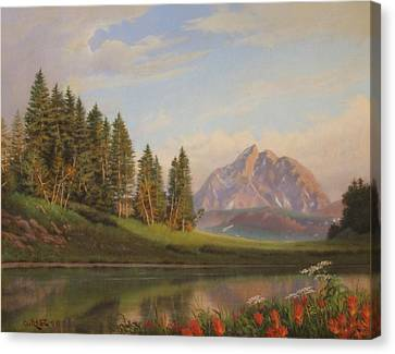 Wildflowers Mountains River Western Original Western Landscape Oil Painting Canvas Print by Walt Curlee