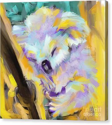 Wildlife Cuddle Koala Canvas Print by Go Van Kampen