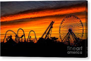 Roller Coaster Canvas Print - Wildwood At Dawn by Mark Miller