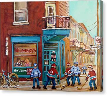 Wilensky Montreal-fairmount And Clark-montreal City Scene Painting Canvas Print by Carole Spandau