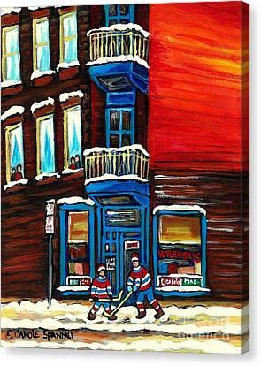 Wilenskys Corner Deli  Montreal Paintings  Street Hockey Art City Scene Rue Fairmount Cspandau Canvas Print by Carole Spandau