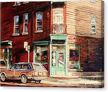 Wilensky's Corner Diner Montreal Vintage City Scenes Canvas Print by Carole Spandau