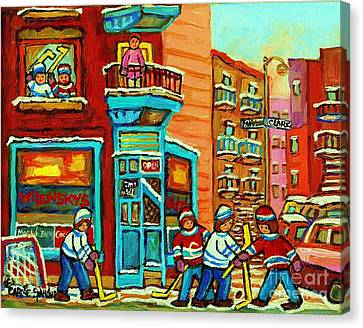 Wilensky's Corner Hockey Game Montreal Winter Diner Paintings Carole Spandau Canvas Print by Carole Spandau