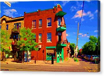 Wilenskys Deli Light Lunch Famous Sandwich Coffee Shop Art Of Montreal Street Scene Carole Spandau Canvas Print by Carole Spandau