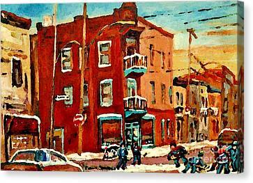 Wilenskys Hockey Art Paintings Originals Commissions Prints Montreal Deps Street Art Carole Spandau  Canvas Print by Carole Spandau