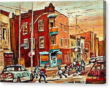 Wilenskys Paintings Hockey Art Commissions Originals Prints By Authentic Montreal Artist C Spandau Canvas Print by Carole Spandau