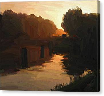 Canvas Print featuring the painting Wilhelmina Canal In Autumn Morning Light by Nop Briex