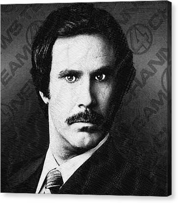 Will Ferrell Anchorman The Legend Of Ron Burgundy Drawing Canvas Print by Tony Rubino
