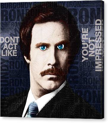 Will Ferrell Anchorman The Legend Of Ron Burgundy Words Color Canvas Print by Tony Rubino