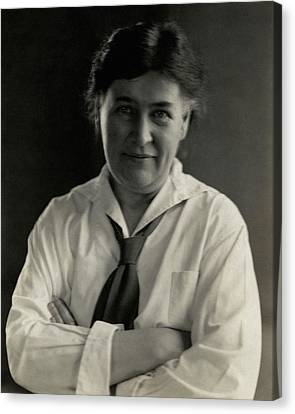 Willa Cather Wearing A Tie Canvas Print by Edward Steichen