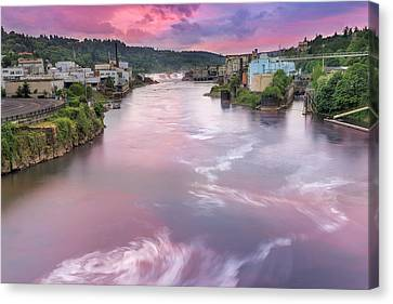 Willamette Falls During Sunset Canvas Print by David Gn