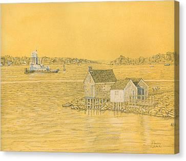 Willard Beach Fishing Shacks Canvas Print by Dominic White