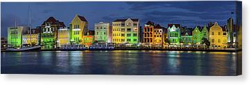 Willemstad Curacao At Night Panoramic Canvas Print by Adam Romanowicz