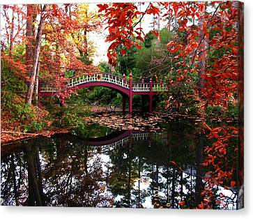 William And Mary Canvas Print - William And Mary College  Crim Dell Bridge by Jacqueline M Lewis