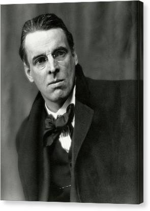 William Butler Yeats Wearing A Bowtie Canvas Print by Arnold Genthe