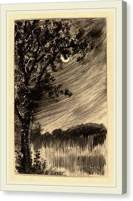 William Fowler Hopson, Moonlit Landscape With Tree Canvas Print