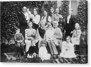 William Gladstone With Family Canvas Print by Underwood Archives