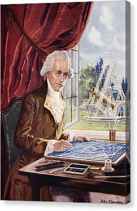 Astronomical Canvas Print - William Herschel At Work At Observatory by John Cameron