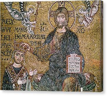 William II 1154-89 King Of Sicily Receiving A Crown From Christ Mosaic Canvas Print by Byzantine School