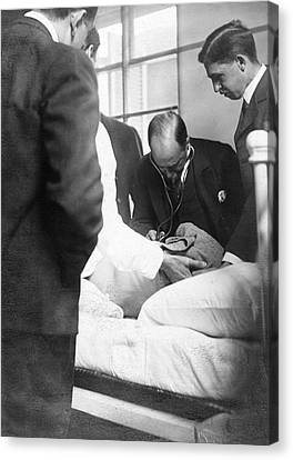 Pioneers Canvas Print - William Osler Attending A Patient by National Library Of Medicine