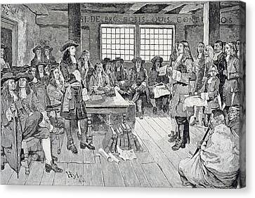 Quaker Canvas Print - William Penn In Conference With The Colonists, Illustration From The First Visit Of William Penn by Howard Pyle