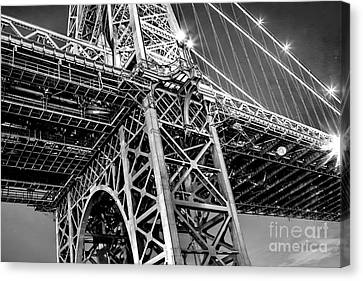 Black And Yellow Canvas Print - Williamsburg Bridge 5 by Az Jackson