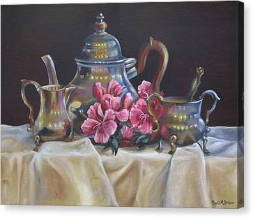 Canvas Print featuring the painting Williamsburg Stieff Tea Set by Phyllis Beiser