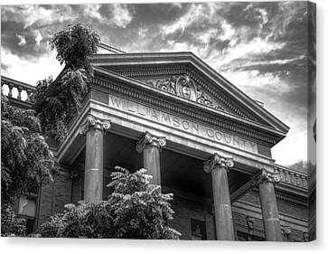 Williamson County Courthouse Bw Canvas Print by Joan Carroll
