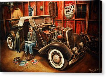 1933 Canvas Print - Willie Gillis Builds A Custom by Ruben Duran