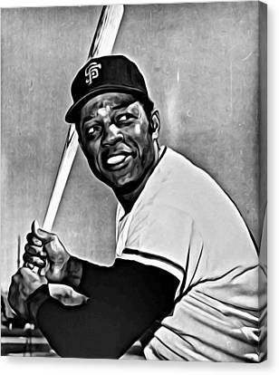 Willie Mays Painting Canvas Print by Florian Rodarte