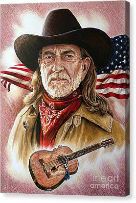 Performers Canvas Print - Willie Nelson American Legend by Andrew Read