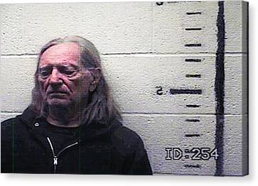 Willie Nelson Mugshot Canvas Print by Bill Cannon