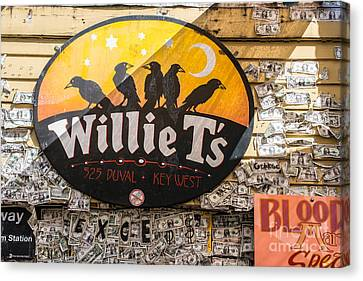 Willie T's Bar And Dollar Bills Key West  Canvas Print by Ian Monk