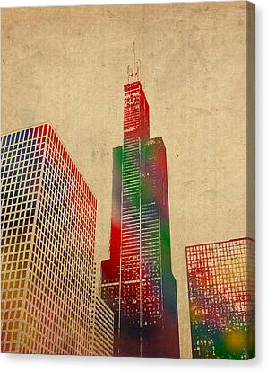 Willis Sears Tower Chicago Illinois Watercolor On Worn Canvas Series Canvas Print