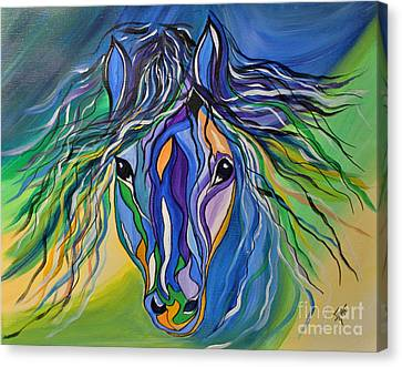 Canvas Print featuring the painting Willow The War Horse by Janice Rae Pariza