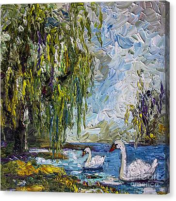 Willow Tree And Swan Lake Oil Painting Canvas Print by Ginette Callaway