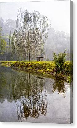 Willow Tree At The Pond Canvas Print by Debra and Dave Vanderlaan
