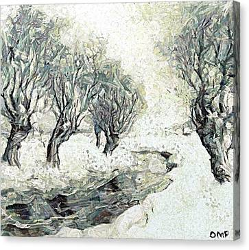 Willows Along The Stream Canvas Print by Dragica  Micki Fortuna