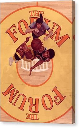 Basketball Canvas Print - Wilt Chamberlain Vs. Kareem Abdul Jabbar Tip Off by Retro Images Archive