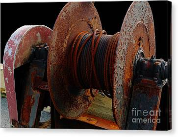 Winch - Cable - Crank - Boats Canvas Print by Barbara Griffin