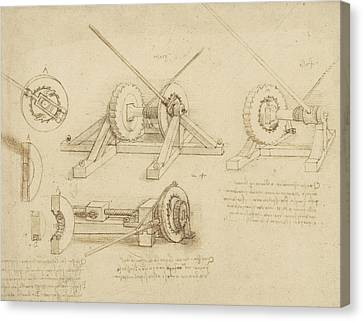 Winch Great Spring Catapult And Ladder From Atlantic Codex Canvas Print by Leonardo Da Vinci