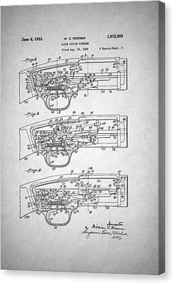 Slide Canvas Print - Winchester Slide Action Firearm Patent 1933 by Mountain Dreams