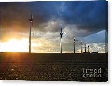 Wind Turbines Canvas Print - Wind And Sun by Olivier Le Queinec