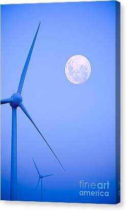 Wind Turbines Canvas Print - Wind Farm  And Full Moon by Colin and Linda McKie