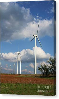 Canvas Print featuring the photograph Wind Farm And Red Dirt by Jim McCain
