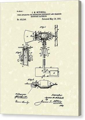 Wind Mill 1891 Patent Art Canvas Print by Prior Art Design