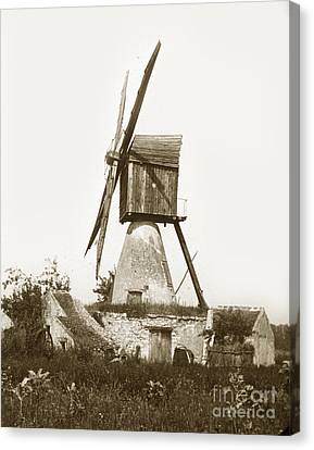 Canvas Print featuring the photograph Wind Mill In France 1900 Historical Photo by California Views Mr Pat Hathaway Archives