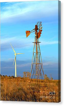 Wind Power  Then And Now Canvas Print