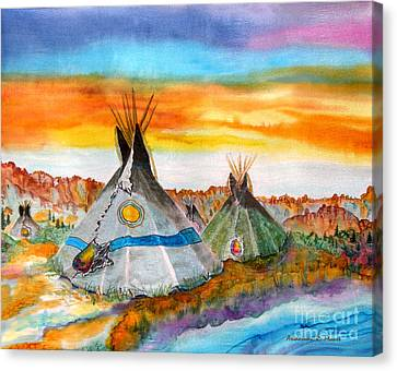 Wind River Encampment Silk Painting Canvas Print by Anderson R Moore
